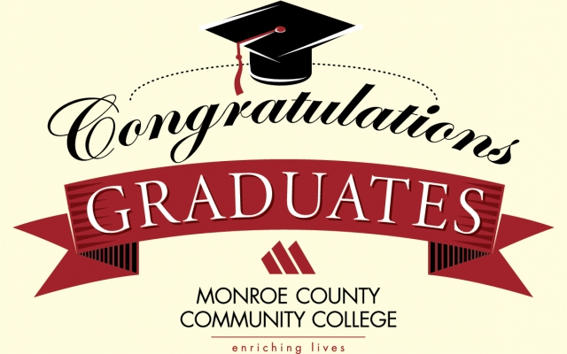 "Graphic: ""Congratulations, MCCC Graduates"" and MCCC Logo with ""Enriching Lives"" tagline"